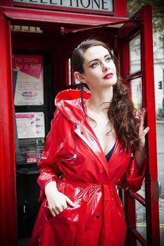 Rain Fashion, Rainy Day Fashion, Women's Fashion, Red Raincoat, Plastic Raincoat, 1950s Fashion, Vintage Fashion, Vinyl Skirt, Parka