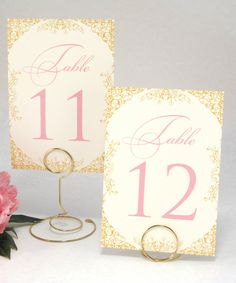 Gold Blush Pink and Ivory Wedding Table Number by WeddingMonograms
