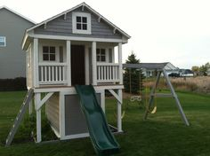 Kids playhouse-turn our swing set into this, maybe? - Nadja - Kids playhouse-turn our swing set into this, maybe? Kids playhouse-turn our swing set into this, maybe? Outside Playhouse, Backyard Playhouse, Build A Playhouse, Backyard Patio, Playhouse With Slide, Playhouse Ideas, Cubby Houses, Play Houses, Backyard Playset