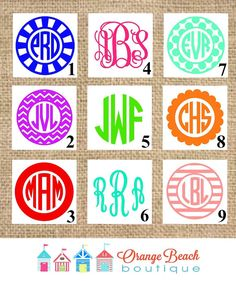 Monogram Decal Monogram Sticker iPhone by OrangeBeachBoutique Style 4- sea green (For yeti cup)