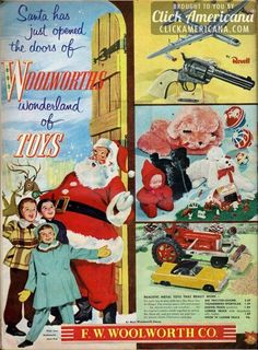 "Vintage Retro Style ""Santa has just opened the doors of Woolworth's wonderland of toys Christmas ad. - Woolworth's wonderland of toysSanta has just opened the doors of.F W Woolworth Vintage Christmas Images, Vintage Holiday, Christmas Pictures, Noel Christmas, Retro Christmas, Xmas, Victorian Christmas, Christmas Christmas, Anos 60"