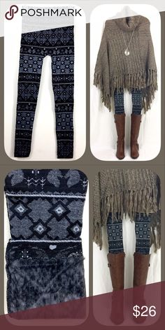 Thick Grey Fair Isle Fur Lined Leggings BOUTIQUE ✅Warm leggings with fur lining ✅One size fits all - stretchy  ✅I stock other items in my closet that complement each other --- go take a look!  ✅Price firm, BUT... ✅Want 15% off AND a free gift? Bundle 3+ items!  ✅Check out my other warm patterned fur-lined leggings! Happy Poshing! Pants Leggings
