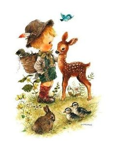 Little Moments ~ Greg Giordano Sweet Drawings, Creation Photo, Forest Creatures, Forest Friends, Animal Cards, Character Drawing, Cute Illustration, Animals For Kids, Vintage Postcards