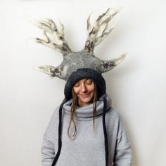 RESERVED FOR LISON  Deer antler hat antler by FeltYourself on Etsy