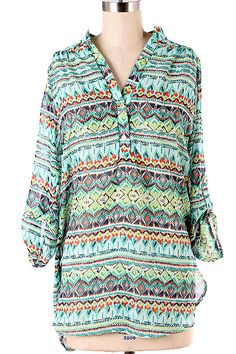 Cute new tribal print top!