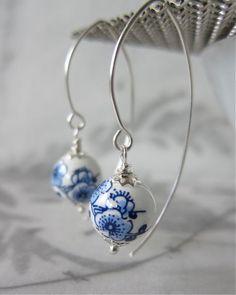 Cherry blossom porcelain bead earrings / sterling silver