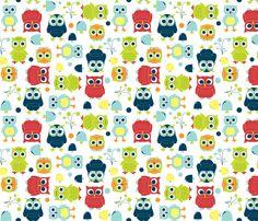 Owls - Rainbow fabric by aimeemarie on Spoonflower - custom fabric