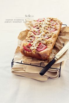 Roasted Strawberry  Yoghurt Breakfast Loaf