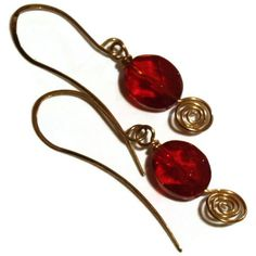 Red and Gold Dangle Earrings.