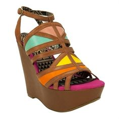 Step Out In Style / Jessica Simpson Krisella Color Block Strappy Wedge Sandal #VonMaur #JessicaSimpson #Multicolor ||