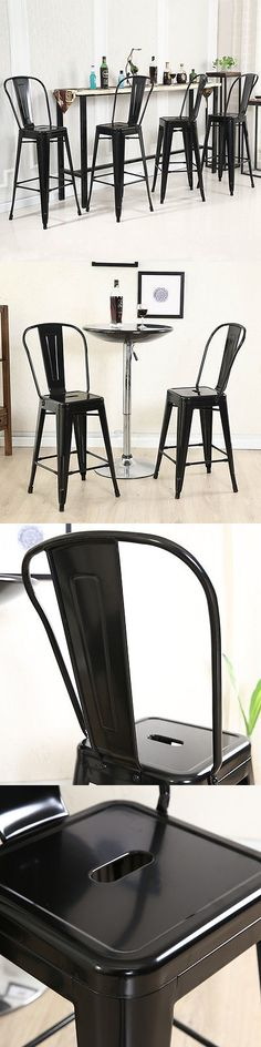 Bar Stools 153928: 4Pc Set Industrial Vintage Style Bar Height Stool With Full Back 30 Inch Black -> BUY IT NOW ONLY: $129.99 on eBay!
