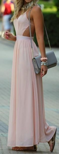 ♡ Pink open back maxi dress - If you like my pins, please follow me and subscribe to my fashion channel on youtube! (It's free) Let me help u find all the things that u love from Pinterest! https://www.youtube.com/channel/UCCP8TXebOqQ_n_ouQfAfuXw