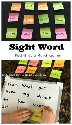 Sticky Note Sight Word Match – The Letters of Literacy Learning sight words can be challenging, but it doesn't have to be boring. This sight word match game is perfect for early readers at school or home! Learning Sight Words, Sight Word Practice, Sight Word Activities, Phonics Activities, Listening Activities, Sight Word Flashcards, Home Learning, Preschool Learning, Learning Spanish