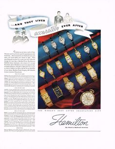 1936 Hamilton Watch Company ad ‹ Strickland Vintage Watches