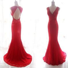 Charming Evening Dress,Red V Neck Mermaid Evening Dress,Sweep