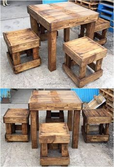 The Best DIY Wood Pallet Ideas and Projects We are sure that catching with this incredible creation of the wood pallet stylish table and stools design. Wooden Pallet Projects, Diy Pallet Furniture, Wooden Pallets, Wooden Diy, Pallet Ideas, Furniture Ideas, Pallet Wood, Wooden Furniture, Diy Pallet Table
