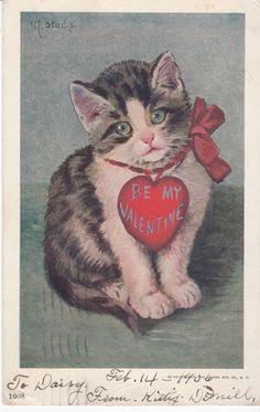 Be My Valentine Kitten No 1608 Ullman Mfg NY Vintage Postcard C 1906 | eBay