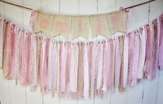 On Sale Now Pink Name Banner Burlap Lace Linen Pink
