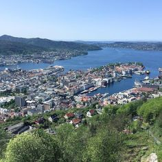 The view of #Bergen from #mountfløyen. Our adorable #airbn is somewhere in this photo. A trip up the #funicular railway is a must to appreciate this view. (You can also walk up.)