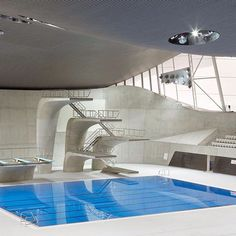 The curved concrete diving boards inside Zaha Hadid's London Aquatics Centre were as big a star during the 2012 Olympics as the athletes themselves, and the building is the fourth most popular Zaha Hadid story to ever be published on Dezeen.  The structure also features an undulating wave-like roof, as well as a practice pool topped by a perforated concrete ceiling. See all our stories about Zaha Hadid on dezeen.com/tag/zaha-hadid #architecture #ZahaHadid #London