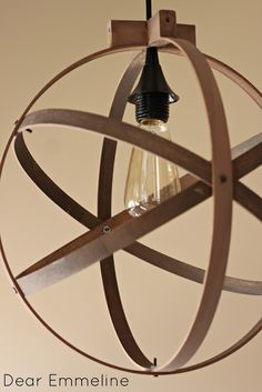 orb pendant light made with embroidery hoops