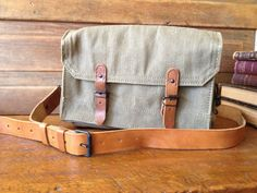 Vintage 1950s French Canvas & Leather Military Hunting Bag Case Satchel Messenger
