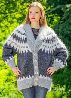 Hand knitted sweater Icelandic fuzzy designer grey handmade mohair cardigan  #SuperTanya #Cardigan