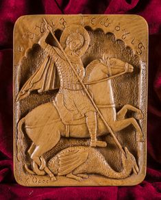 Saint George Killing the Dragon Aromatic Icon made by pure beeswax, mastic and incense from Mount Athos. Unique Christian Gift, free worldwide shipping!