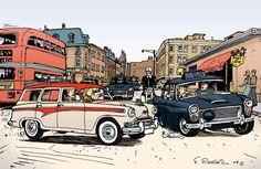 Austin Countryman and police car Westminster, Comic Books Art, Comic Art, Austin Cars, Cartoon Expression, Bike Illustration, Ligne Claire, Funky Art, Archie Comics