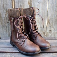 the brown combat sweater boots women's fall winter boot rustic worn look vintage inspired men's shoe wear