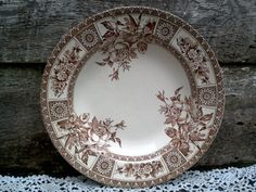 Aesthetic Brown Transferware Soup Plate by CottonCreekCottage