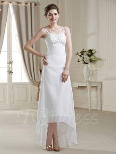 #Valentines #AdoreWe #TBDress - #TBDress Spaghetti Straps Beading Beach Wedding Dress - AdoreWe.com