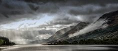 Loch Lochy. A break in the storm clouds and the near constant rain from my recent trip to Scotland. Spotted the light and the cloud coming down the mountain and managed to grab a quick shot before the rain started again. I have rediscovered my love of landscape photography and more to come. Storm Clouds, Panel Art, Scotland Travel, Acoustic, Playground, Landscape Photography, Watercolour, Waterfall, Landscapes