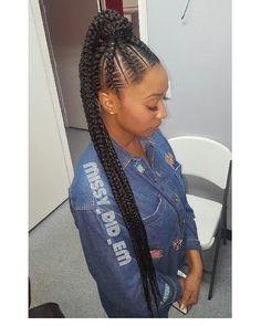 "266 Likes, 24 Comments - Braids By Missy (@missy_did_em) on Instagram: ""Exxxtra Long Ponytail #braids #braiddesigns #feedinbraids #goddessbraids #ghanabraids…"""