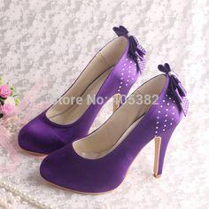 Wedopus Purple Satin High Heels Hot Wedding Shoes Platform Bow Back Heel Height(China) Purple High Heels, Purple Sandals, Hot High Heels, White Heels, Womens High Heels, Purple Bridal Shoes, Wedding Shoes Online, Satin Wedding Shoes, Wedding Heels
