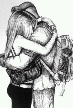 ideas drawing bleistift traurig for 2019 Love Drawings Couple, Couple Sketch, Cute Couple Art, Girly Drawings, Pencil Art Drawings, Art Drawings Sketches, Cute Couples, Drawings Of Couples Hugging, Military Couples