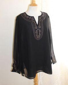 Laura-Ashley-Sz-2X-Elegant-Black-Chiffon-Artistic-Semi-Sheer-Sleeves-Tunic-Top