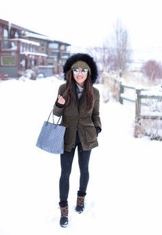 Park City Style // Olive Parka + Wedge Winter Boots