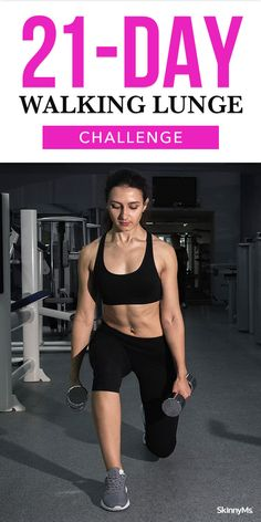 Our Walking Lunge Challenge will start with a lot of shaky leg movements but will leave you with strong and sculpted legs by the end. Best Workout Routine, Workout Routines For Women, Butt Workout, Beginner Workout At Home, Workout For Beginners, Beginner Workouts, Leg Workouts, Lunges With Weights, Lunge Challenge