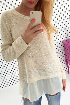 Stylish Scoop Neck Long Sleeve Chiffon Spliced Sequined Sweater For Women