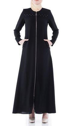 Butikzade - Berrak Ferace DF-1028-01-Siyah Abaya Fashion, Muslim Fashion, Beautiful Long Dresses, Mode Abaya, Muslim Women, Furla, The Dress, Cold Shoulder Dress, Feminine