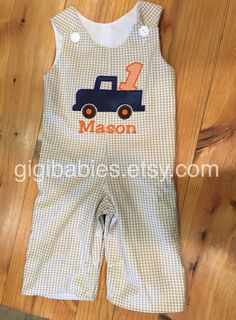 Boys little blue truck birthday longall or shortall by gigibabies
