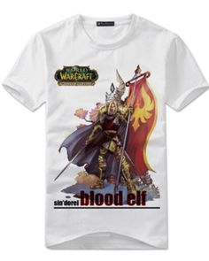 WOW Blood Elf white t shirt for boys World of Warcraft cheap tee short sleeve-