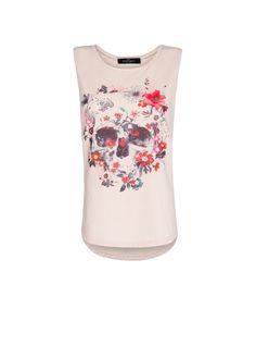 MANGO - T-shirt tête de mort fleurs