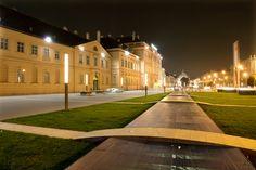 MQ Wien: Nacht vor dem MQ Eingang © Ali Schafler Heart Of Europe, Museum, Top Place, Austria, Adventure Travel, North America, Mansions, House Styles, City
