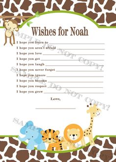 PERSONALIZED Safari Baby Shower Game   Wishes For Baby   Printable File    Matching Invitation Available