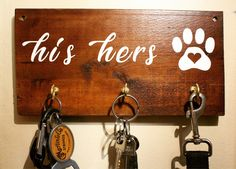 His Hers Dog Key Hook | Rustic Home Decor | Entryway Organizer | Indie Home