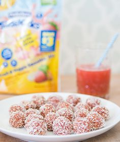 Strawberry Banana Coconut Energy Bites - great healthy snack for kids, there's even some sweet potato hidden in there too.