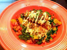 Moroccan Salmon at Toucan Cafe in Savannah, GA Food Plating, Savannah Chat, Cobb Salad, Moroccan, Salmon, Seafood, Tybee Island, Dishes, Chicken