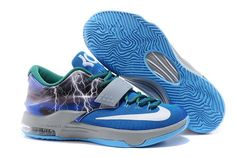 Nike KD 7 Lightning Sports Footwear in Color Blue/White/Grey and Green Accents
